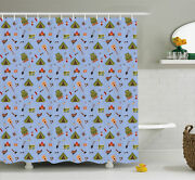 Boy Scout Pattern Shower Curtain Fabric Decor Set With Hooks 4 Sizes
