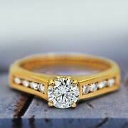 14k Yellow Gold Classic Engagement Ring With Center 0.68ct Round Diamond