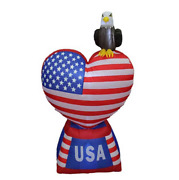 Labor Day 5and039 Air Self-inflatable American Flag Heart With Eagle With Light Up