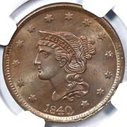 1840 N-8 Ngc Ms 65 Bn Lg Date Braided Hair Large Cent Coin 1c