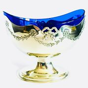 Rare Antique J H And Co English Silver Plated Dish With Original Cobalt Blue Glass