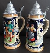 Two Vintage 1960s German Marzi And Remy Ceramic Beer Steins In Perfect Condition