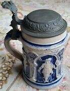 A Superb Antique German Ceramic Beer Stein Dating Back To Early 19th Century