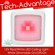 12v White 7w Dual Red/white Led Touch Ceiling Cabin Light And Dimmer Boat/caravan