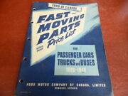 1948 Ford Of Canada Fast Moving Parts Catalog For Passenger Cars Trucks Buses