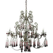 Large Macaroni Chandelier 6 Lights Red Beaded Drops Prisms Centerpiece Wood Htf