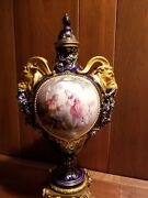 200 Year Antique Sevres Porcelain Jeweled Imperial Ormolu Urn With Bronze Andgold