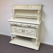 19th Century Ornate English Oak Sideboard Cabinet In White Paint