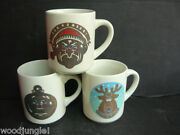 3 Denny's Coffee Mugs Color Changing Temperature Bah Humbug Ornament Reindeer