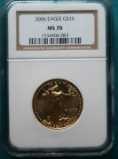 2006 Gold Eagle 25 Coin Ngc Ms-70andnbsp 191