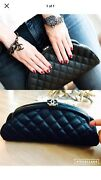 Classic Clutch Bag Purse Quilted Black Half Moon Cc Logo Timeless