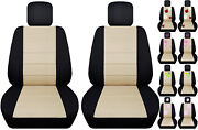 Front Car Seat Covers Black/beige W/daisyandladybughibiscuspeace Fits Vw Beetle
