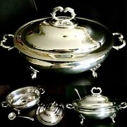 Rare Antique William Hutton And Sons 13andrdquo/33cm Silver Plated Tureen And Ladle 2kg