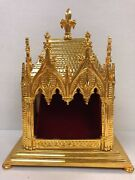 + Gold Plated Brass Reliquary House For Your Relic + 19g + Church + Saint