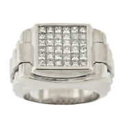 Menand039s Real 18k White Gold Genuine Diamond 1.50ctw Ring Invisible Set Watch Shank