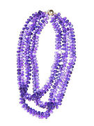 300ct Aaa Quality Amethyst Gemstone Cluster Necklace Faceted 14k Gold Clasp