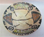 Fine 19th C. Persian Islamic Art Pottery Bowl With Yellow Script Middle East