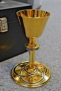 + Nice Antique All Sterling Silver Chalice With Case + H-43011 All 24k Goldpl.