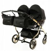 Exclusive Twin Pram Junama Diamond S Duo Gold Black Double Buggy Baby Twins