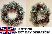 41 Or 26cm Artificial Christmas Wreath Snow White Berries Holly Ivy Fern Foliage