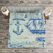 Fishing Quilted Bedspread And Pillow Shams Set, Whale Wheel Sketch Print