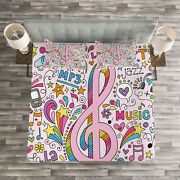 Pink Quilted Bedspread And Pillow Shams Set Music Clef Groovy Sketchs Print