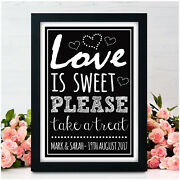 Personalised Love Is Sweet Candy Bar Sweetie Buffet Sweet Table Wedding Signs