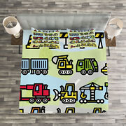 Boyand039s Quilted Bedspread And Pillow Shams Set Excavator Loader Machines Print
