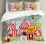 Landscape Duvet Cover Set With Pillow Shams Carnival Many Rides Print