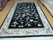 6and039 X 9and039 Vintage Hand Made Chinese Art Deco 90 Lines Wool Rug Flowers Vase Nice