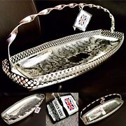 Antique Andldquoqueen Anneandrdquo Silver Plated 15andrdquo/40cm Swing Handle Galleried Sandwich Tray