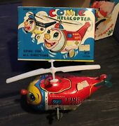 Mint Condition 1950s Vintage Antique Helicopter Wind-up Tin Toy