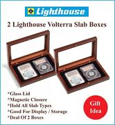 2 Lighthouse Wood Display Storage Boxes 2 Graded Certified Coin Slabs Ngc Pcgs