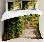 European Duvet Cover Set With Pillow Shams Old Street Of Tuscany Print