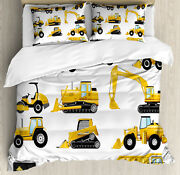 Boyand039s Duvet Cover Set With Pillow Shams Yellow Construction Site Print