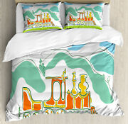 Steam Engine Duvet Cover Set With Pillow Shams Small Old Train Print