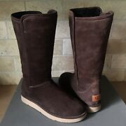 Ugg Abree Collection Tall Espresso Brown Suede Shearling Boots Size Us 7 Womens