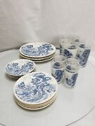Vintage Nasco Pottery And Glass Blue River Pattern Cups And Plate Made In Japan