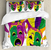 Mardi Gras Duvet Cover Set With Pillow Shams Tragedy And Comedy Print