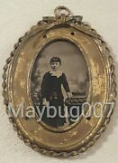 Unique Handmade Metal Frame With Tintype Photograph Young Girl Well Dressed