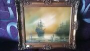Atmospheric Marine Oil - Napoleonic Period Ships Anchored Sunset Harbour