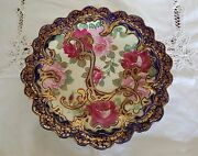 Antique Japanese Nippon Hand-painted 12.5 Cobalt Blue Plate With Roses