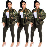 Women Long Sleeve Paillettes Patchwork Casual Camouflage Jacket Coat Outer Wear