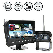 Wireless Backup Camera System With 7 Quad View Display With Built-in Dvr