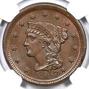 1847 N-7 R-2+ Ngc Ms 64 Bn Cac Braided Hair Large Cent Coin 1c