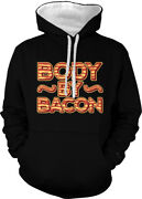 Body By Bacon Strips Fat Eat Food Love Belly Stomach Two Tone Hoodie Sweatshirt