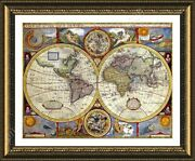 Antique Old Vintage V1 By World Map   Framed Canvas   Wall Art Giclee Poster