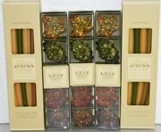 New 36 Pc Williams Sonoma 24 Autumn Tiny Tapers Candles + 12 Leaf Glass Holders