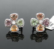 4.31ct Multi Color Sapphire And 0.42ct Diamond 14k White Gold Flower Earrings