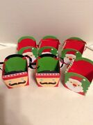 Christmas Square Paper Buckets 3.8x3.8x4.5 Inches Set Of 6,4 Santaand2 Soldier